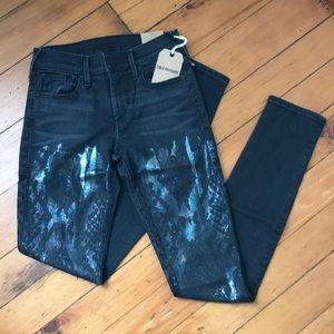 Black Venom Snake Print Denim Jeans